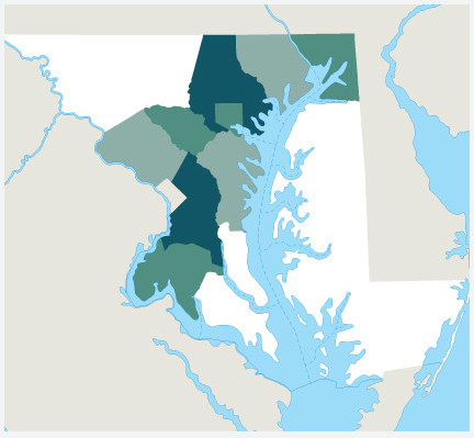 Map of Maryland served by ABL